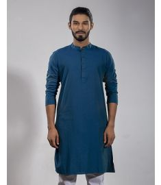 Peacock Blue  Slim Fit Cotton Panjabi|1721
