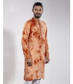 Hand Printed Burnt Orange & Hacienda Color Slim Fit Panjabi|1701