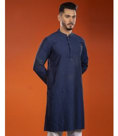 Glossy Navy   Blue Printed Slim Fit Cotton Panjabi|1704