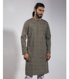Taupe Grey Printed Slim Fit Panjabi|1728