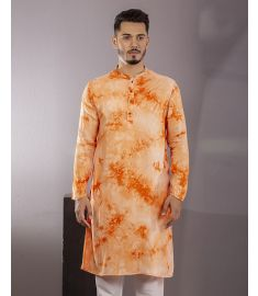 Hand Printed Batik Golden Poppy & Orange Color Slim Fit Panjabi|1727