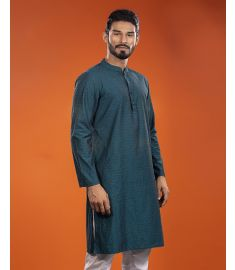 Bottle  Green  Slim Fit Cotton Panjabi|1714