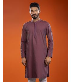 Burgandy Color Embroidered & Printed Slim Fit Panjabi|1705
