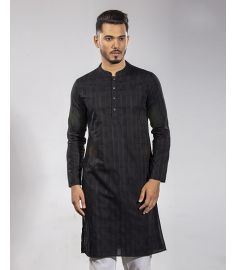 Black Color Striped Slim Fit Panjabi|1735