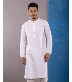 White Slim Fit Cotton Panjabi|1709