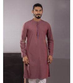 Burgandy wine Color Embroidered & Printed Slim Fit Panjabi|1731