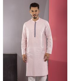 Pink Textured and Embroidered Slim Fit Cotton Panjabi|1723