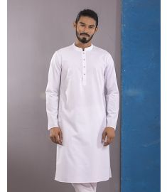White Quartez Slim Fit Cotton Panjabi|1711