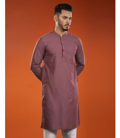 Burgandy Wine Color Printed Slim Fit Panjabi|1729