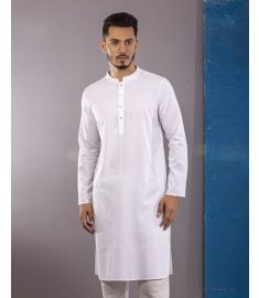 White   Striped Slim Fit Cotton Panjabi|1719