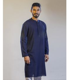Navy Blue Embroidered Slim Fit Cotton Panjabi|1703