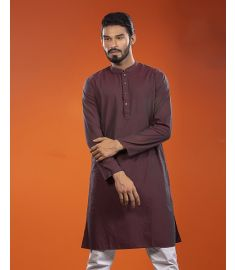Maroon Dual Tone Slim Fit Cotton Panjabi|1710