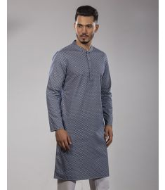 Navy Blue & White Combine Printed Slim Fit Panjabi|1737