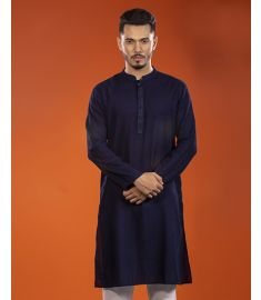 Dark Navy Blue Embroidered Slim Fit Cotton Panjabi|1718