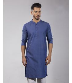 Deep Sky  Blue Printed Slim Fit Cotton Panjabi|1738