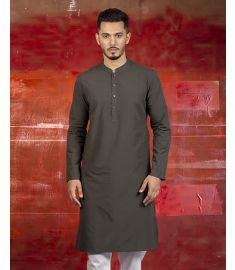 Olive Slim Fit Cotton Panjabi|1739