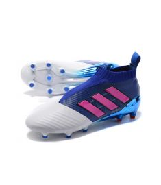 Blue and White PU Rubber Football Boot For Men