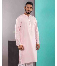 Coral Pink Slim Fit Cotton Panjabi