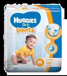 Huggies (Malaysia) Dry Pants Baby Diaper: 6-12 Kg / 60 pcs