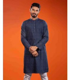 Navy Blue Base Multi Color Dot Printed Slim Fit Panjabi|1722