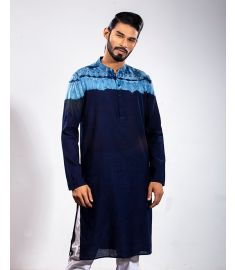 Navy Blue Textured & Ocean Blue Dyed Slim Fit Panjabi