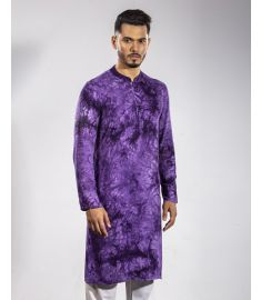 Hand Printed Batik Purple & Black Color Slim Fit Panjabi|1700