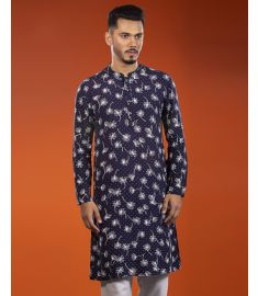 Dark Blue Color Floral Printed Slim Fit Panjabi|1702