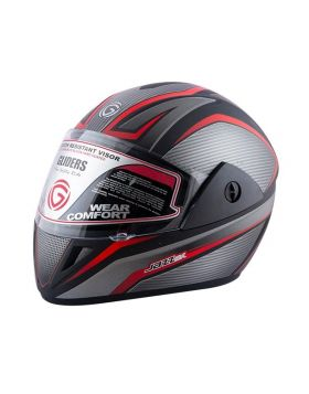 Gliders Jazz DX Graphics Full Face Matte Black & Red Helmet