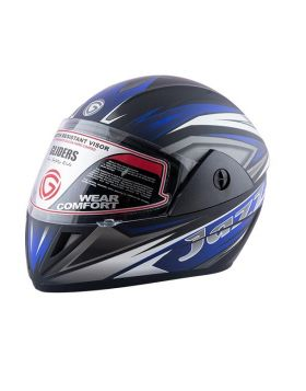Gliders Jazz DX Graphics Full Face Matte Black & Blue Helmet