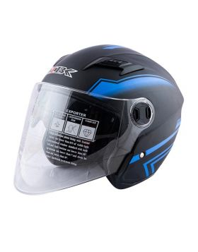 MBK Open Half Face 605 Matte Black & Blue Helmet