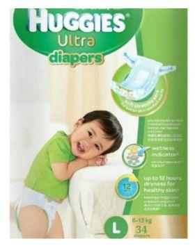 Huggies (Malaysia) Baby Dry Belt Diaper: 8-13 Kg (L) / 34 pcs