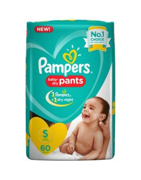 Pampers (India) Baby Dry Pants Diaper: 4-8 Kg (S) / 60 pcs