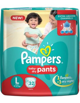 Pampers (India) Baby Dry Pants Diaper: 9-14 Kg / 32 pcs